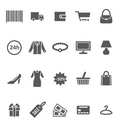 cartoon silhouette black shopping icon set vector image