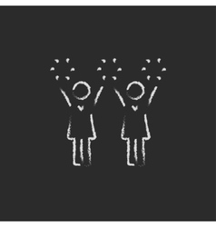Cheerleaders icon drawn in chalk vector image
