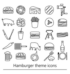 hamburger theme modern simple outline icons set vector image vector image