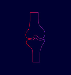 knee joint sign line icon with gradient vector image