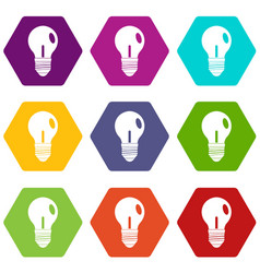 light bulb icon set color hexahedron vector image vector image