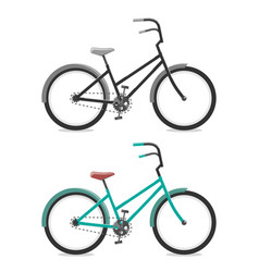 set bicycle on white background cycling concept vector image