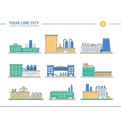 Set of line flat design industrial buildings icons vector image vector image