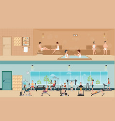 set of people in fitness gym interior with vector image