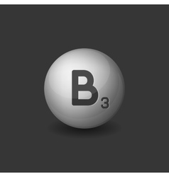 Vitamin B3 Silver Glossy Sphere Icon on Dark vector image vector image