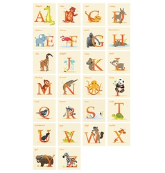 Animal alphabet set vector image vector image