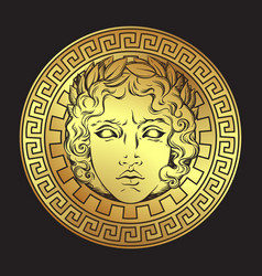 antique style sun with face of the god apollo vector image vector image