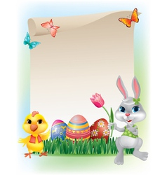 Easter background with bunny and chicken vector image vector image