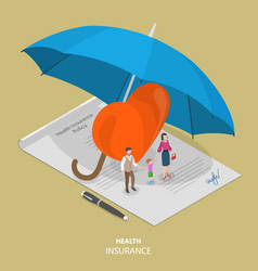 health insurance flat isometric concept vector image