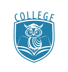 logo owl and shield for college vector image