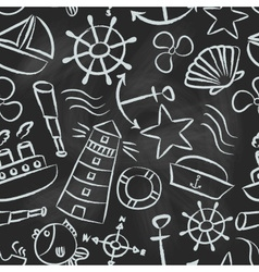 nautical sketch doodle icons seamless pattern vector image vector image