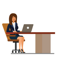 office woman at desk working at laptop cartoon vector image