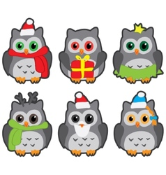 owls in winter hats colored vector image