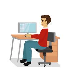 businessman at the desk vector image