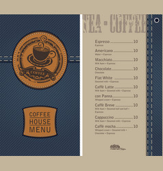 coffee house menu on denim background with price vector image vector image
