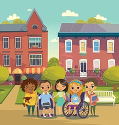 Group of happy children with books and tablets vector
