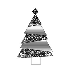 Monochrome background of abstract christmas tree vector