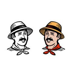 portrait of happy farmer or gardener logo farm vector image vector image