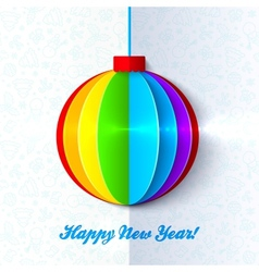 Rainbow shining colorful Christmas ball vector image