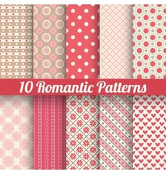 Romantic seamless patterns tiling with swatch vector image vector image