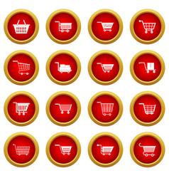 shopping cart icon red circle set vector image