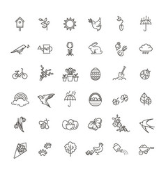 spring icons set spring garden flowers and vector image vector image