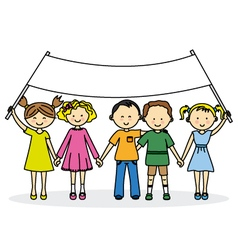Children friends with a banner vector image vector image