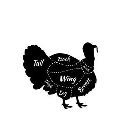 Farm Bird Silhouette Turkey meat Cuts Butcher shop vector image
