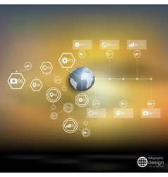 Globe world blurred infographic template for vector image vector image