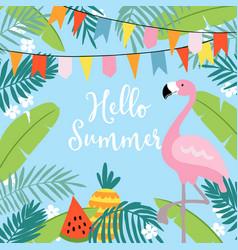hello summer greeting card invitation vector image