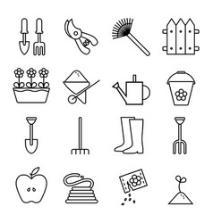 Set icons outline garden on vector