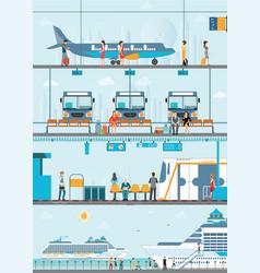 set of public passenger transport vector image