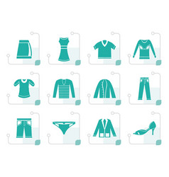 stylized clothing icons vector image vector image
