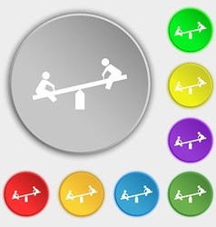 swing icon sign Symbol on five flat buttons vector image