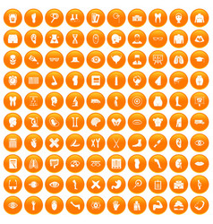 100 anatomy icons set orange vector