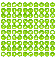 100 symbol icons set green circle vector