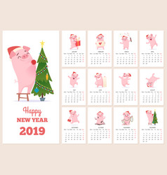2019 calendar template new year celebration pig vector image