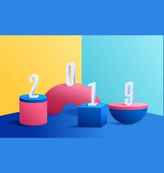 3d modern minimalist mockup colorful geometric vector