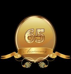 65th golden anniversary birthday seal icon vector image