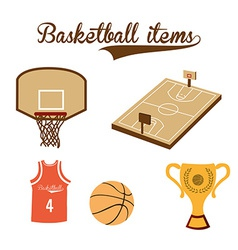 a set of basketball items on a white background vector image