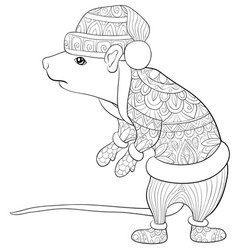 Adult coloring bookpage a cute rat with a vector
