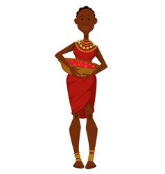 African woman with basket fruits dress vector