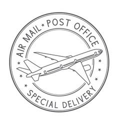 Air mail postmark black stamp for envelopes vector