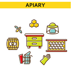 apiary line icons vector image