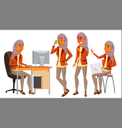 Arab woman office worker woman hijab vector