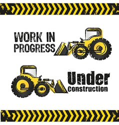 Backhoe design under construction vector