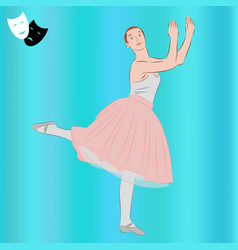 ballerina ballet dancer and theatrical masks vector image