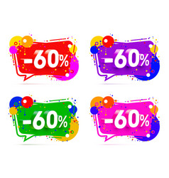 banner 60 off with share discount percentage vector image