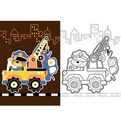 bear driving a tow truck cartoon coloring page vector image