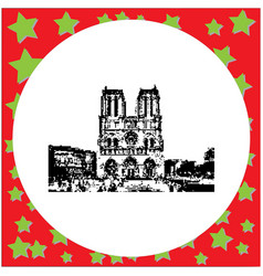 black 8-bit notre dame cathedral on ile de la vector image